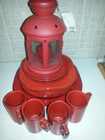 Prodaje se crveni keramicki servis tanjira i soljica sa crvenim - Crvenka - slika 4