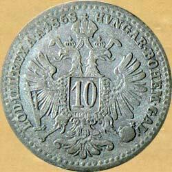 Монеты 10Kreuzer Серебро 1868 год и 10 копеек 1931 в Кант