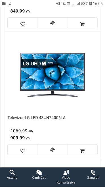 tv-lg - Azərbaycan: Teze alinib,ela Tv,smart 43° diaqonal.Magazada indi 1000 azn.Satiriq