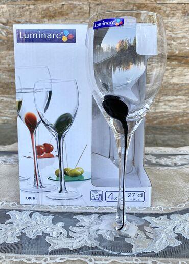luminarc наборы посуды в Азербайджан: Luminarc fujer dəstı «Drip Noir»4 ədədНабор фужеров Luminarc «Drip