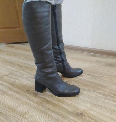 Импортные зимние кожаные сапоги с натуральным мехом,очень тёплые