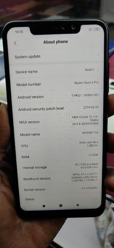 xiaomi redmi note 2 в Азербайджан: Б/у Xiaomi Redmi Note 6 Pro 64 ГБ Черный