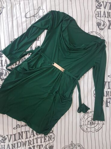 Smaragdna lagana XL haljina