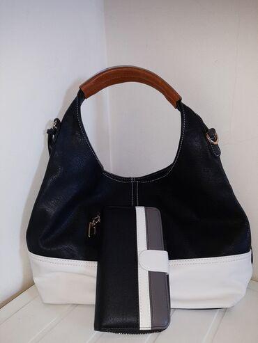 Personalni proizvodi | Smederevo: Komplet, kvalitetna crno/bela torba i novčanik, novo, nekorišćeno. Ide