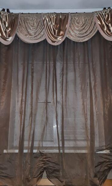 Штора+ ламбрикен, размер тюли 5.6 метра. Можно присобрать на любую