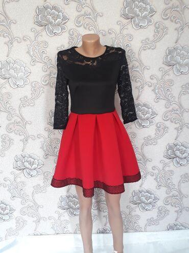 Красивое платье:вверх гипюр, пышный низ. Размер 44. Состояние и