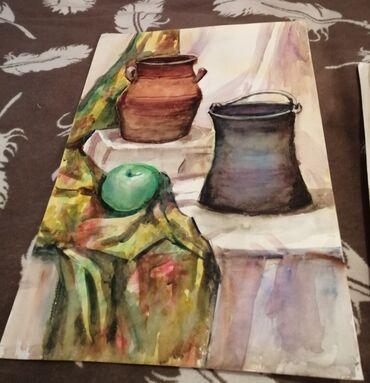 Kagiz - Azərbaycan: El işi sulu boya ilə kagiz uzərində cekilib