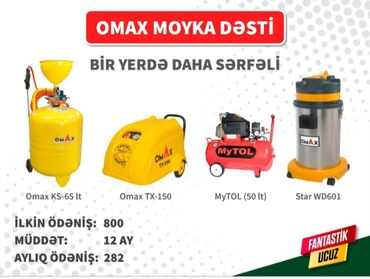 Yüksək təzyiqli yuma - Azərbaycan: Omax moyka aparat dəsti.Tək şəxsiyyət vəsiqəsi ilə kredit