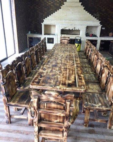 Bakı şəhərində Taxta masa ve oturacaqlar.. Her nov dekorativ mebellerin ve umumilikde