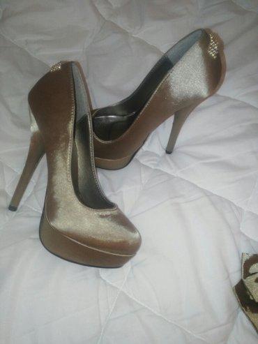 Cipele stikle visina - Srbija: Elegantne satenske tamno zlatne cipele 36 broj, sa visokom stiklom na