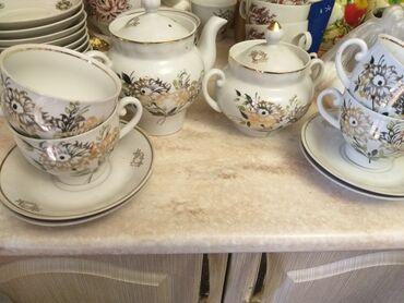 Чайный сервиз сост отл СССР времён 850сом 4чашки с тарелкой +чайник и