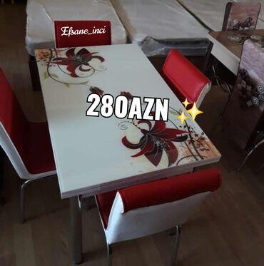 Masa +4stul 280Azn  Turkiye istehsalidir  Reng secimi var  Masa bagli