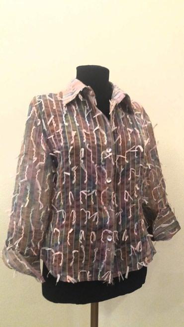 блузки с коротким рукавом в Кыргызстан: Рубашка, можно носить на топ, рукав три четверти с отворотом, Турция