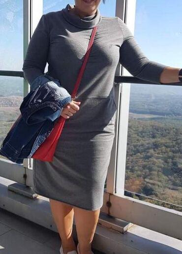 Pamucna haljina 48 ili 3xl siva i crna