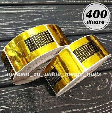 Din komad - Srbija: Sabloni za izlivanje noktiju uski.500 kom u koturu.Cena 400 din