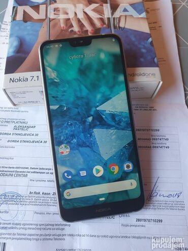 Sivo odelo - Srbija: Nokia 7.1 dual sim ODLICNA GARANCIJA full pack(Korišćeno)120,00 € -