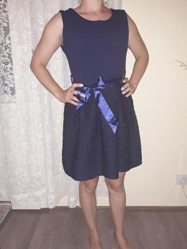 Ženska odeća | Zlatibor: Italijanska svecana haljina teget boje,jednom obucena za svecanu