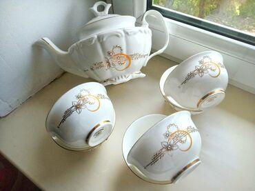 Кухонные принадлежности - Кыргызстан: Продаю чайный сервизНа 6 персон 6пиалок + чайникБез браков