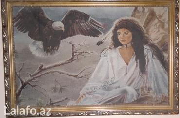 Rəsm və şəkillər - Azərbaycan: Картина девушка с орлом. продается картина ''девушка с орлом'' 65см. х