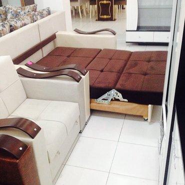 Bakı şəhərində Amerikanka divan Açilada yataq kimi olur.krem ve qehveyi rengli parça
