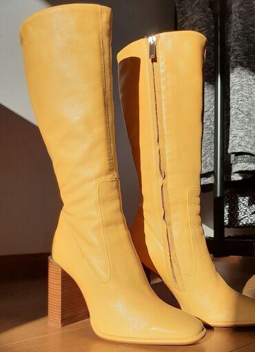 Sa kapuljacom - Srbija: Zara žute kožne čizme Nove, sa etiketom. Broj 36