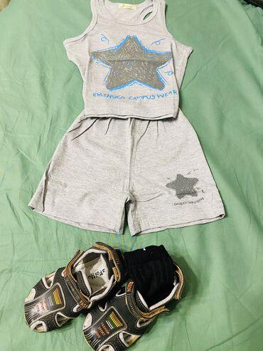 летние шорты в Кыргызстан: Комплект из майки и шорт для жарких летних дней немаркого серого цвета