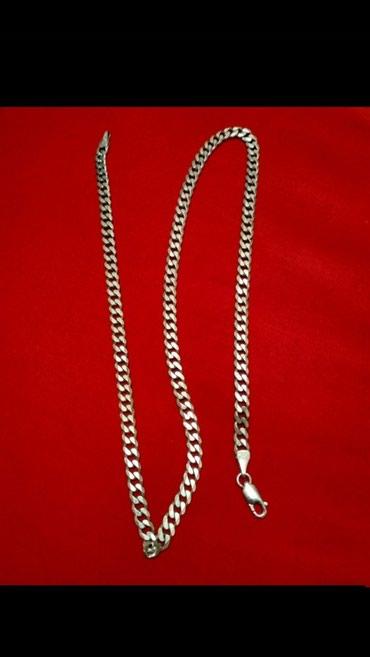 Bakı şəhərində Gümüş boyunbağı cekisi 28-gram .uzunlugu 56-santi .giymeti sondu