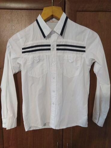 Детский мир - Манас: Белая рубашка с длинными рукавами на мальчика лет 7/8,в идеальном сост