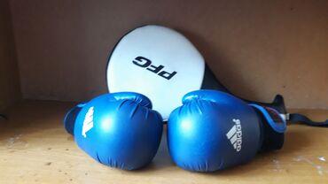 Боксерские перчатки и лапа для спорта