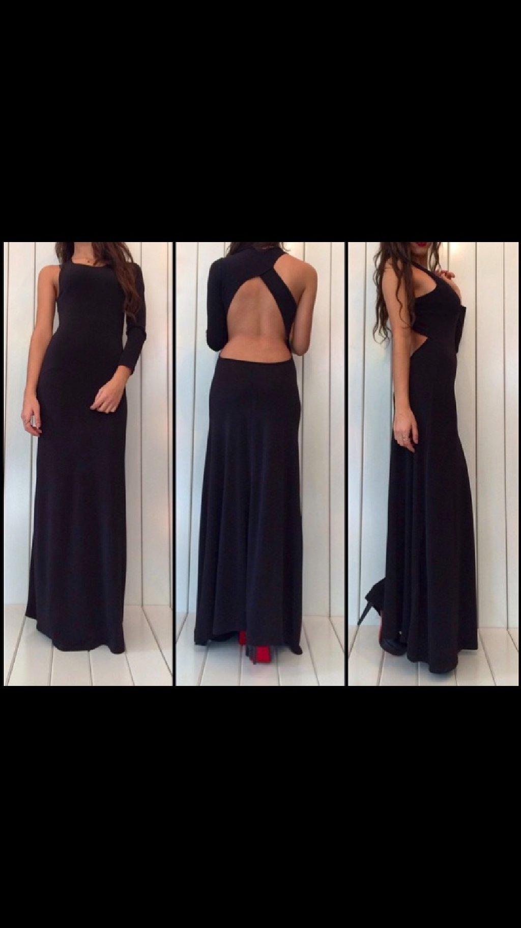Μαξι μαύρο σεξι φόρεμα με ανοιχτή πλάτη και άψογη εφαρμογή small/medium