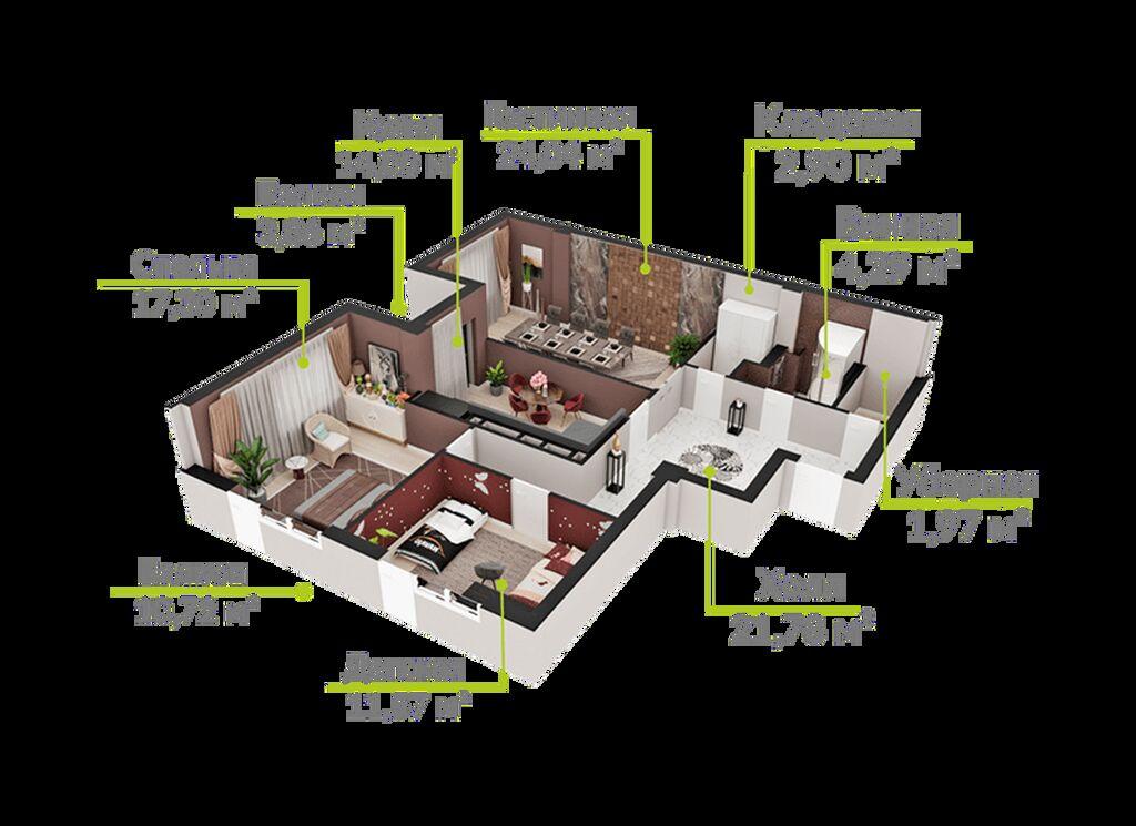 Продается квартира: 2 комнаты, 76 кв. м