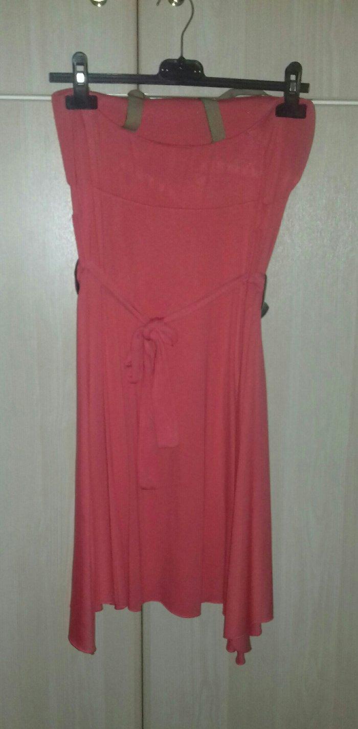 Φόρεμα κοραλλί με ζώνη, one size, αφόρετο. Photo 1