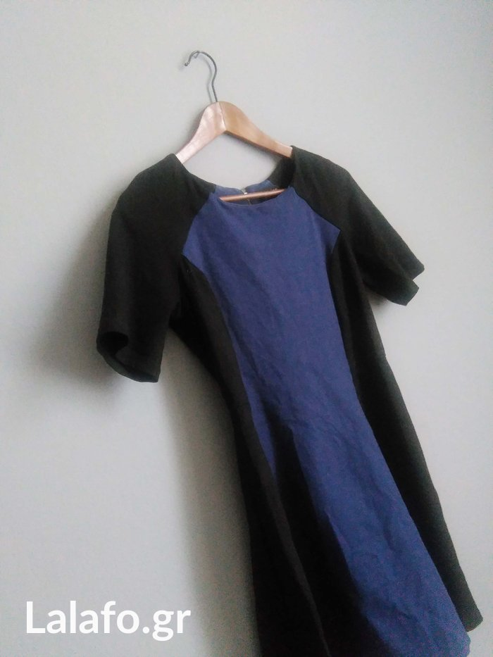 TOPSHOP μπλε-μαυρο color block φορεμα
