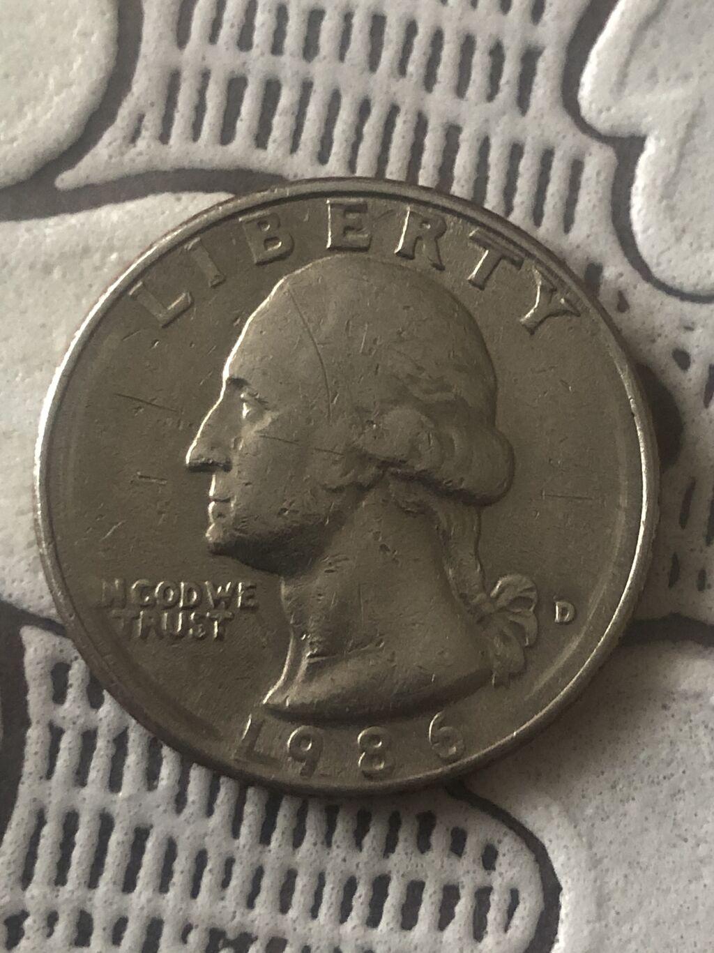 Монета 25 центов США Quarter Dollar  Перевёртыш 1986 года: Монета 25 центов США Quarter Dollar  Перевёртыш 1986 года