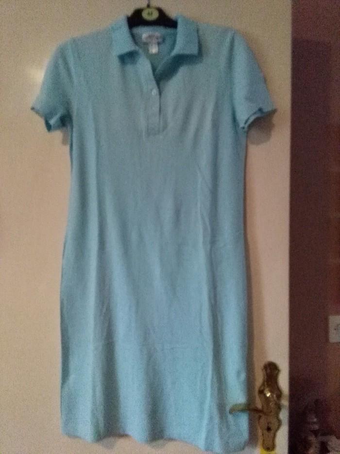 Svetlo plava haljina peri deri materijal