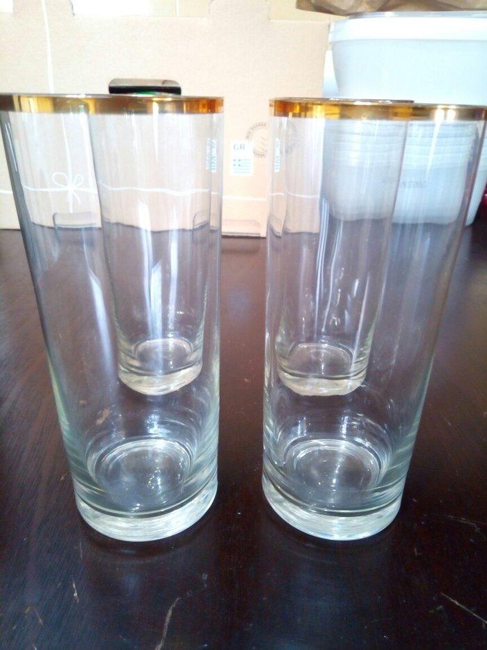 4 ποτηρια νερου με χρυσο στομιο αχρησιμοποιητα.. Photo 1