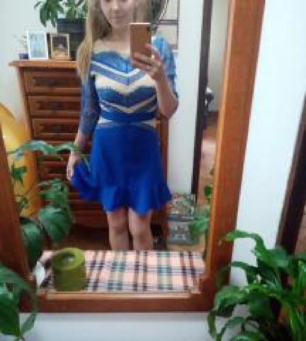 SNIŽENO 1500!! Haljina kraljevsko plave boje sa drap umecima