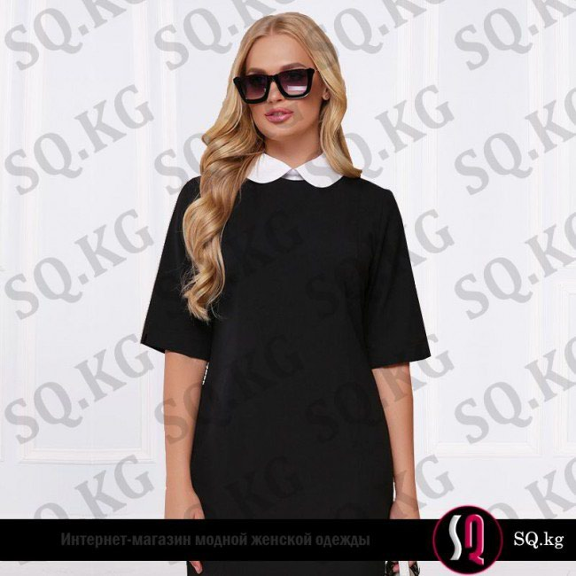 0a5579e37d1 Офисное платье шифт с отстегивающимся белым воротником за 2900 KGS в ...
