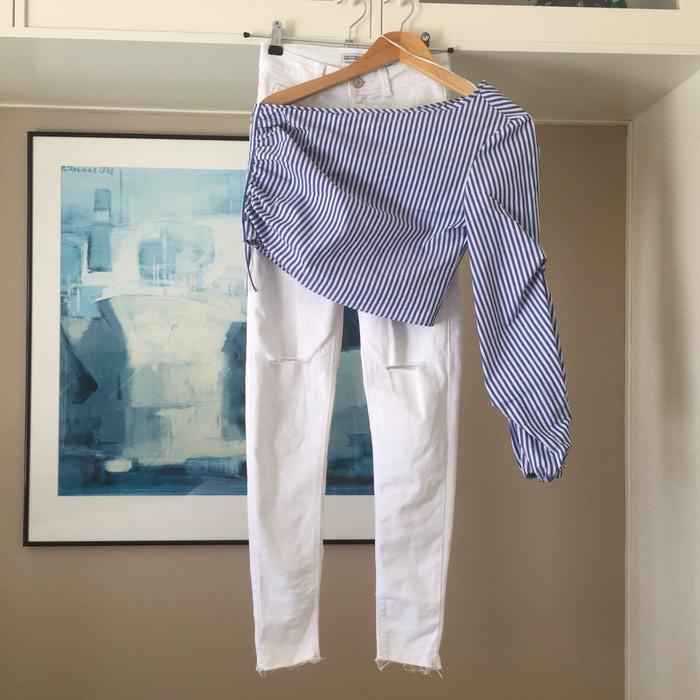 ZARA Denim λευκό skinny τζιν. Είναι ψηλόμεσο. Photo 6