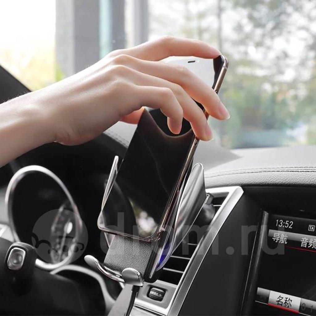 Автомобильный держатель для смартфона с беспроводной зарядкой и инфракрасным датчиком для автоматического крепления смартфона