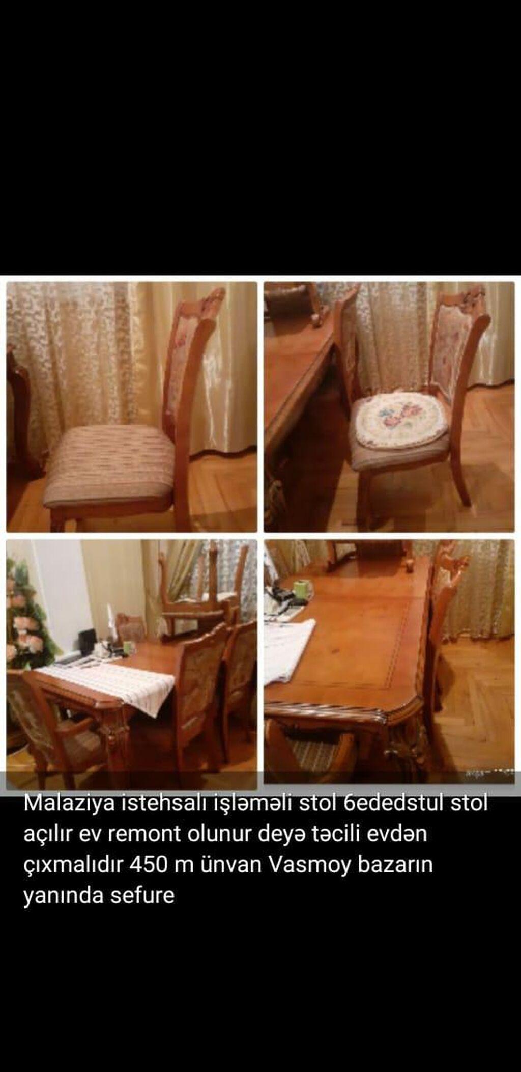 Malaziya istehsalı stol 6 stul yaxşı vəziyyətdədi 400 m ünvan Vasmoy bazarın yanında