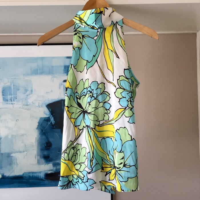 Zara σατέν αμάνικη floral πουκαμίσα με ψηλή. Photo 5