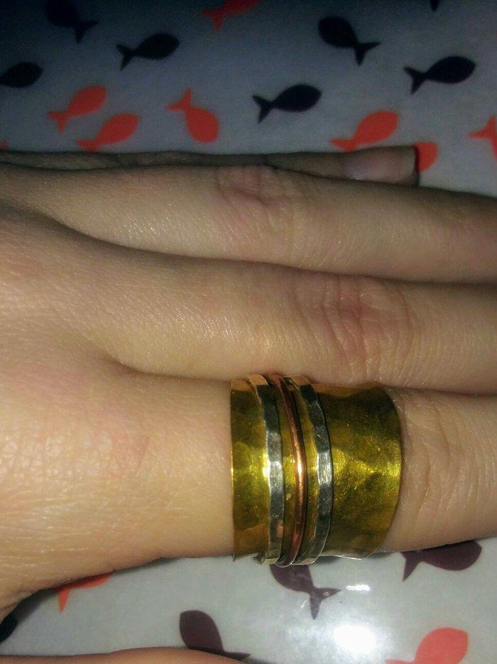 Δαχτυλιδι απο ορειχαλκο. με spinners ασημι. Photo 0