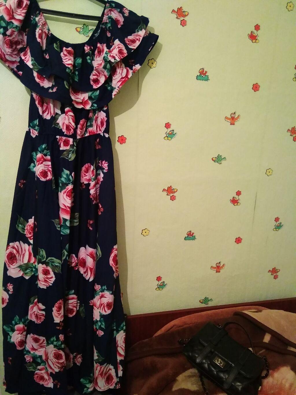 Платье: Платье новое размер 44-46-48,два волана на регелине, резинка на талии
