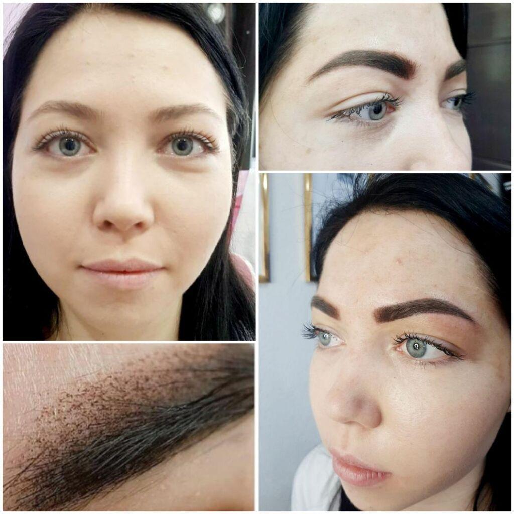 Перманентный макияж бровей,пудровая техника.Материалы USA