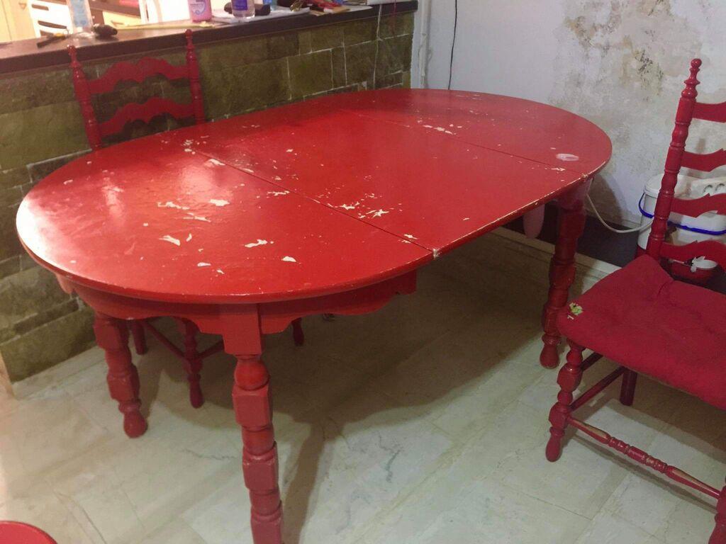 Τραπεζαρία ροτόντα με επέκταση και 4 καρέκλες