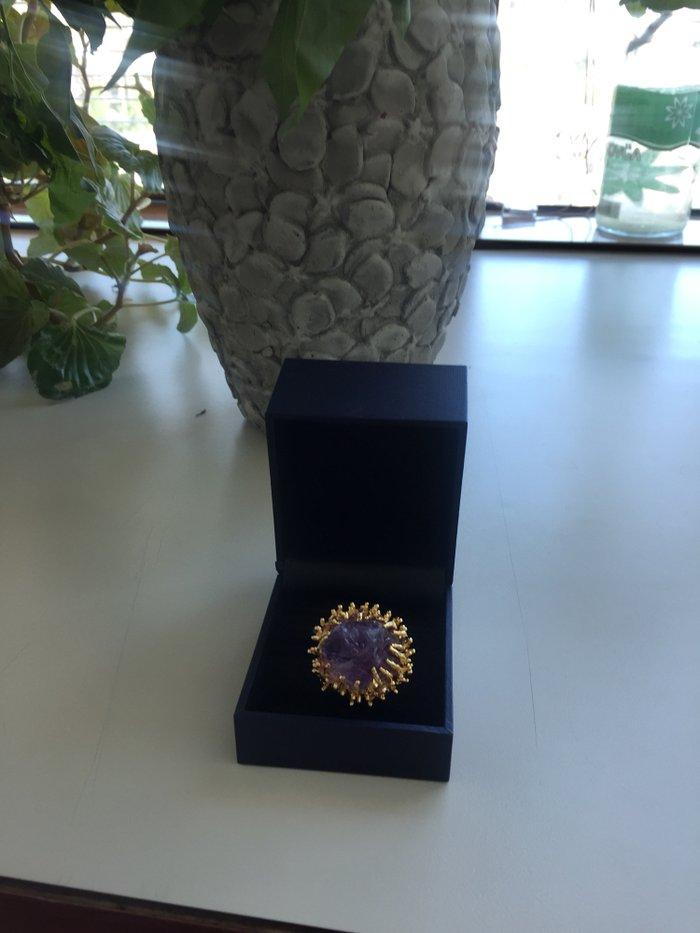 Кольцо позолоченный метал с натуральным аметистом, размер 17 in Bakı