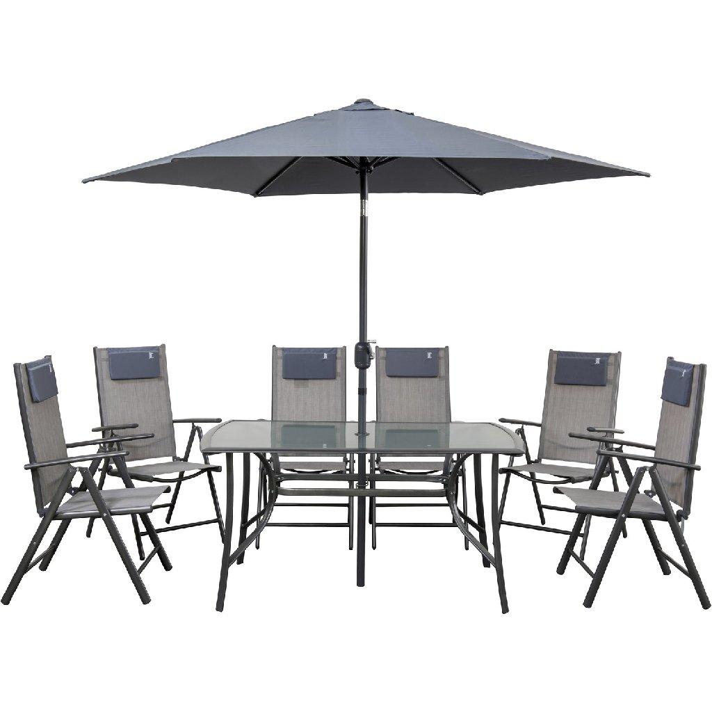 Σετ Κήπου RIO Μεταλλικό Ανθρακί (1 Τραπέζι + 1 Ομπρέλα + 6 Καρέκλες)