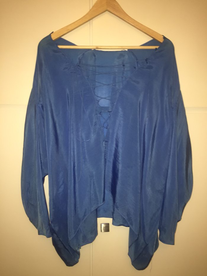 Zara woman μεταξωτή , φαρδιά , μπλε ρουά μπλούζα . Νο small . Αφόρετη . Photo 0