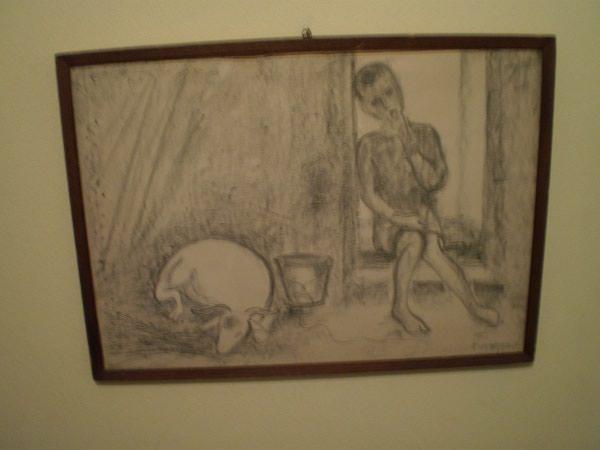 """Λιθογραφία με μολύβι του 1935, """"Αγόρι με την Κατσίκα"""", του γνωστού ζωγράφου Ορέστη Κανέλλη, διαστάσεων 35 x 49 εκ"""